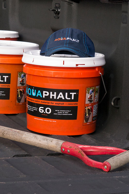Aquaphalt in buckets
